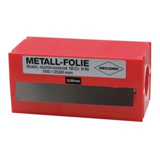 Metallfolie Dicke 0,075 mm Edelstahl Länge 2500 mm Breite 150 mm