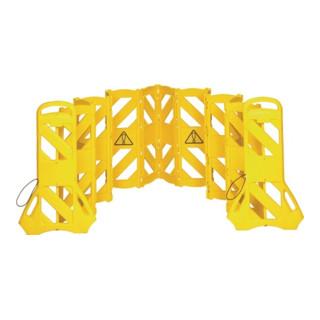 Mobile Absperrung 16 Elemente H1000xB600xT350mm gelb PE Gesamtlänge 4m