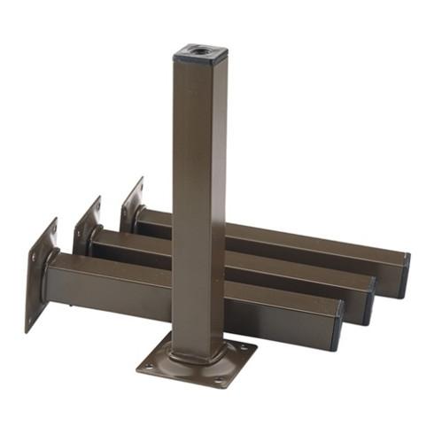 Möbelfuß schwarz RAL 9005 25x25mm H.150mm Platte
