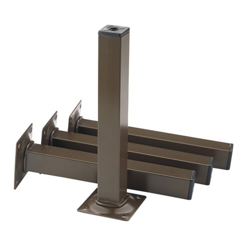 Möbelfuß schwarz RAL 9005 25x25mm H.200mm Platte