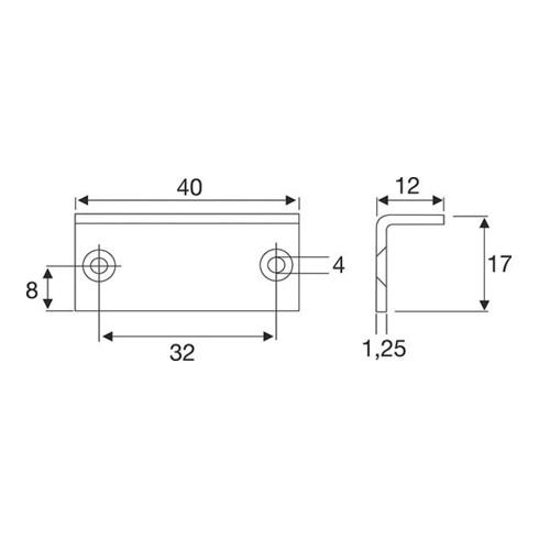 Möbelschließwinkel Zinkdruckg. vern. 40x12mm z. Anschr.