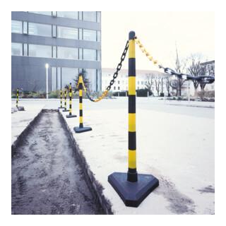 Moravia Kettenständer Set mit Dreiecksfuß schwarz/gelb 10 m Kette + Verbinder + Haken 6 Stk.