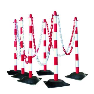 Moravia Kettenständer Set mit Hartgummifuß rot/weiß 10 m Kette + Verbinder + Haken 6 Stk.