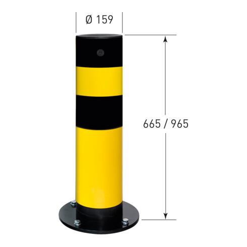 Moravia Rammschutz-Poller SWING für innen, Stahl,  gelb/schw., zum Aufdübeln, 159 mm