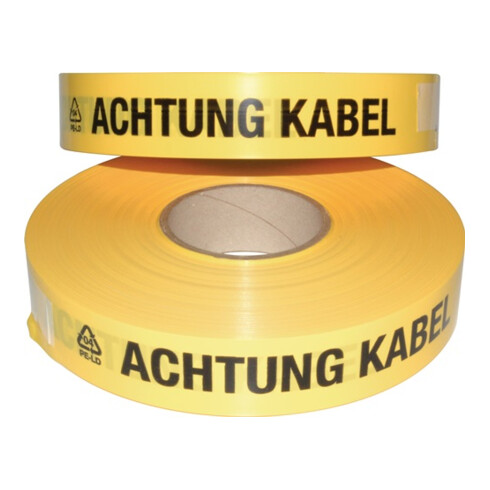 Multicoll Trassenwarnband L.250 m B.40mm Aufdruck Achtung Kabel
