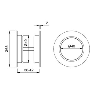 Muschelgriff 5251 MS pol. TS 38-42mm f. HLT. EL.-D. 50mm KWS