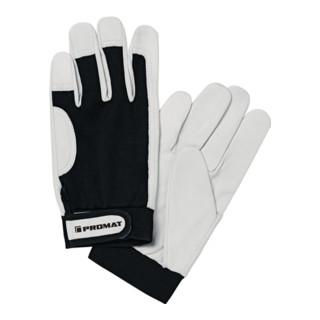 Industrial Quality Supplies Nappalederhandschuh Main EN 388 Kat. II mit Klettverschluss schwarz