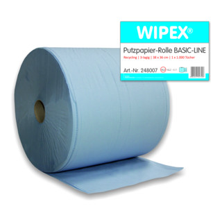 Nordvlies BASIC LINE Putzpapier Rolle 3-lagig, blau, 36x38cm, 1000 Blatt