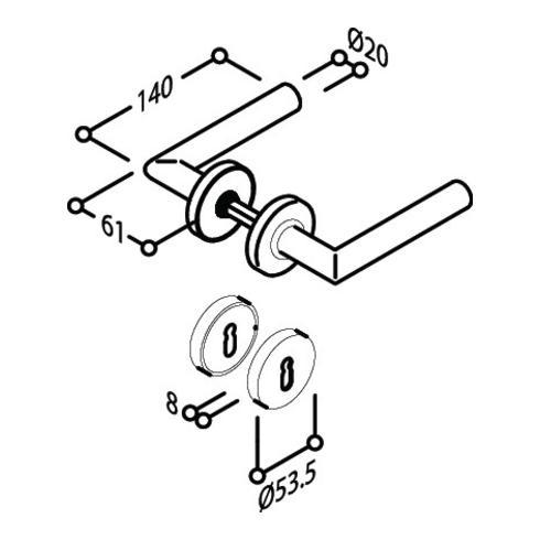 Objekt-Garnitur L-Form Gehrungsform Drückergrt.BB VK 8mm VA matt TS 35-45mm
