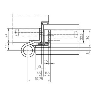 Objektband VARIANT VN 1939/160 FD VA ma geb.160 kg 22,5mm DIN L/R gef.Tür m.FD