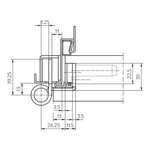 Objektband VARIANT VN 7939/160 FD VA ma geb.160kg 22,5mm DIN L/R gef.Tür
