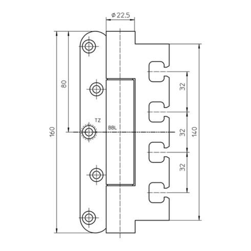 Objektband VARIANT VN 7939/160 STA m.vern.160kg 22,5mm DIN L/R gef.Tür