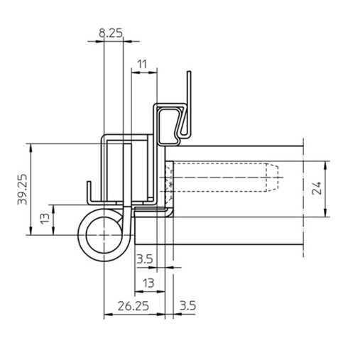 Objektband VARIANT VN 7939/160 VA ma geb.160kg 22,5mm DIN L/R gef.Tür