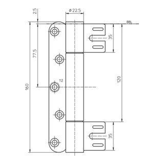 Objektband VARIANT VN 8938/160 STA m.vern.160 kg 22,5 mm DIN L/R gef.Tür m.FD