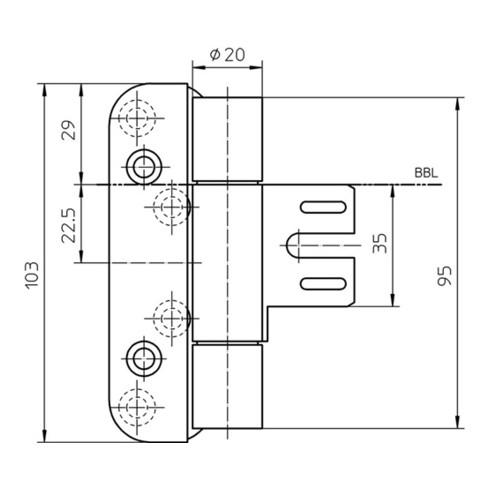 Objektband VARIANT VN 8939/100 FD VA ma geb.100kg 20mm DIN L gef.Tür m.FD