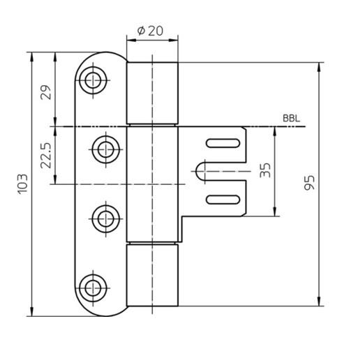 Objektband VARIANT VN 8939/100 STA m.vern.100kg 20mm DIN R gef.Tür SIMONSWERK