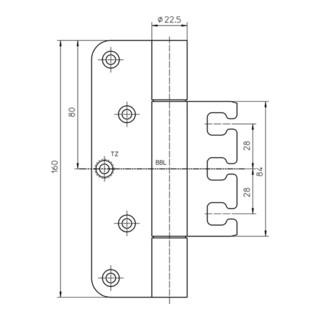 Objektband VARIANT VX 7729/160 VA ma geb.200kg 22,5mm DIN L/R