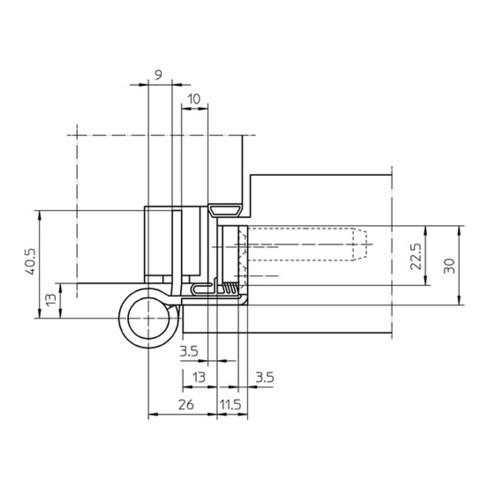 Objektband VARIAT VX 7939/160 FD STA m.vern.200kg 22,5mm DIN L/R gef.Tür m.FD