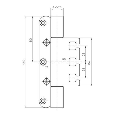 Objektband VARIAT VX 7939/160 STA m.vern.200kg 22,5mm DIN L/R gef.Tür