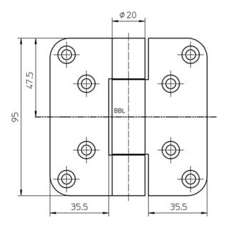 Objektband VN 2929/100 Bandlänge 95mm Trgfür 100kg Stahl matt vernickelt