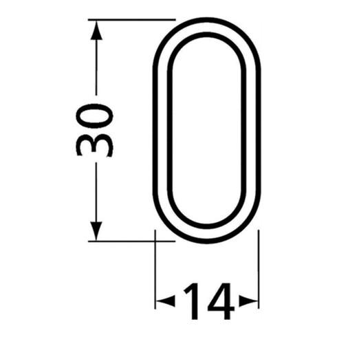 Ovalschrankrohr Alu.silberf.elox.H.30mm B.15mm Wandst.2mm 1.250mm HERMETA