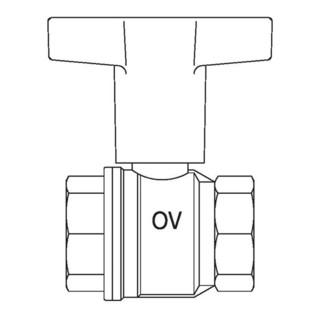 "Oventrop Knebelgriff-Kugelhahn Optibal PN 16, Messing DN 20, 3/4"" IG"
