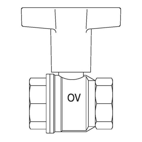 "Oventrop Knebelgriff-Kugelhahn Optibal PN 16, Messing DN 25, 1"" IG"