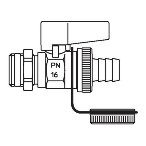 """Oventrop Kugelhahn Optiflex Messing vernickelt, PN 16 DN 15, 1/2"""" AG"""