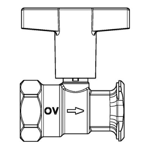 """Oventrop Pumpenkugelhahn Optibal P mit Sperrventil, Messing DN 32, Rp 1 1/4"""" x G 2"""""""