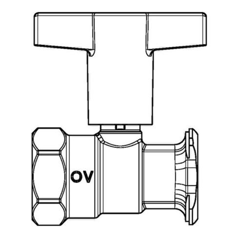 "Oventrop Pumpenkugelhahn Optibal P ohne Sperrventil, Messing DN 25, Rp 1"" x G 1/2"""