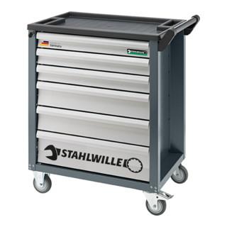 <p>Der Stahlwille 90/6A Werkstattwagen mit 6 Schubladen anthrazitgrau bringt ganz klar Ordnung in die Werkstatt, denn das benötigte Werkzeug befindet sich an einem Ort.</p><h2>Eigenschaften:</h2><ul><li>Ausgest