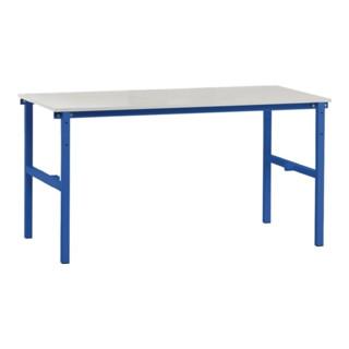 Packtisch B1600 x T800 x H850 mm Grundgestell blau Tischplatte grau