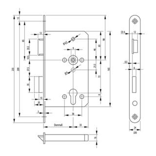 Panik-Einsteckschloss 1201 Fkt.D 20/65/72/9mm DIN L VA