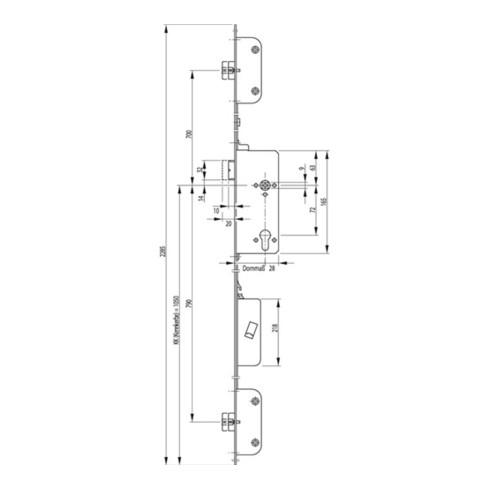 Panikschloss SECURY 2110 Fkt. B 20/65/72mm DIN R Stulpl. 2285mm