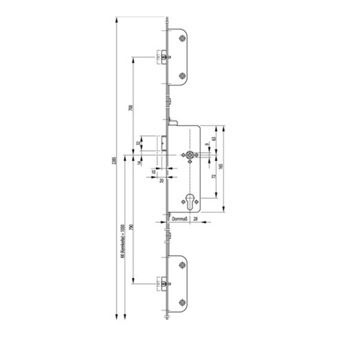 Panikschloss SECURY 2112 Fkt. C 20/65/72mm DIN R Stulpl. 2285mm