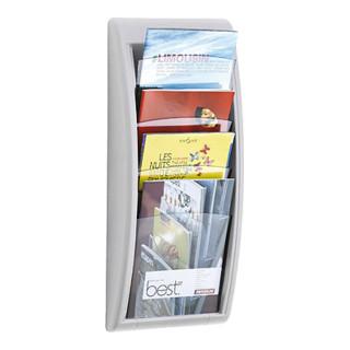 Paperflow Wandprospekthalter 4 Fächer DIN A4 Polystyrol Alufarben