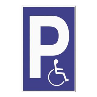 Parkplatzbeschilderung Parken für Behinderte L250xB400mm Ku.blau/weiß