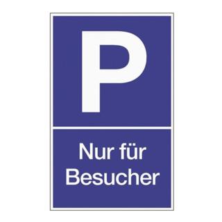 Parkplatzbeschilderung Parken für Besucher L250xB400mm Ku.blau/weiß