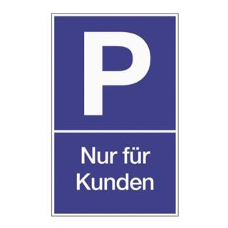 Parkplatzbeschilderung Parken für Kunden L250xB400mm Kunststoff blau/weiß