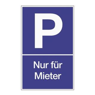 Parkplatzbeschilderung Parken für Mieter L250xB400mm blau/weiß Ku.