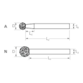PFERD Diamant-Schleifstift DKU-A 1,0/3 D 126