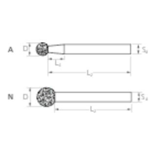 PFERD Diamant-Schleifstift DKU-A 4,0/3 D 126