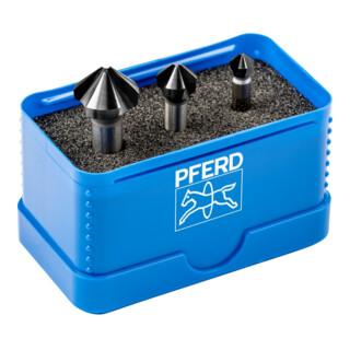 PFERD Kegelsenker-Set HSS DIN 335 C90 Grad, HC-FEP, Außendurchmesser 3 mm