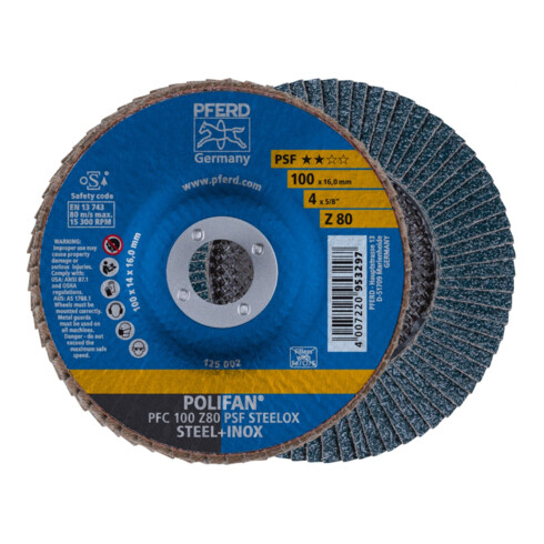 PFERD POLIFAN-Fächerscheibe PSF STEELOX/16,0 100 mm