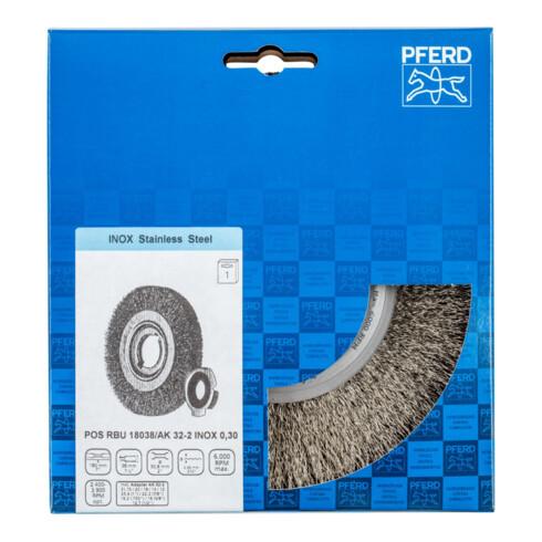 PFERD Rundbürste, ungezopft POS RBU 18038/AK32-2 INOX 0,30 0.3 mm gewellter Draht