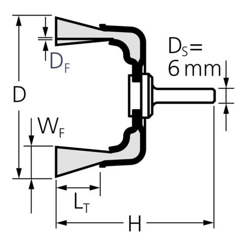 PFERD Topfbürste mit Schaft, ungezopft TBU 6015/6 INOX 0,30 0.3 mm gewellter Draht