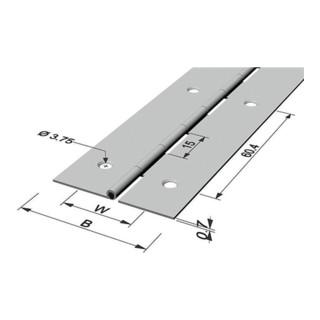 Pickhardt & Gerlach Stangenscharnier Breite 32mm vermessingt mit Aufhänger Eisen vermessingt