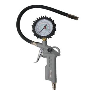 PRAGMAT Druckluft-Set 3-teilig mit Schlauch, Reifenfüllmessgerät und Ausblaspistole