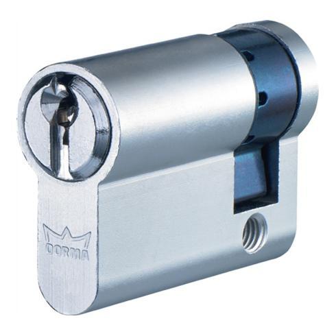 Profil-Halbzylinder DEC150 1303 L. A 40mm L. B 10mm Messing matt vernickelt
