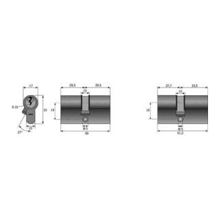 Profildoppelzylinder C 73 N 70/70mm NuG beids.Anz.Schlü.3 versch.-schl.ABUS